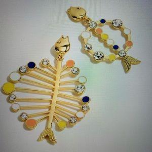 J Crew Asymmetrical Fish Earrings